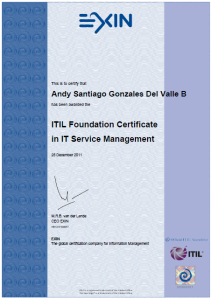 Certificado ITIL Andy Gonzales